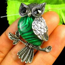 Tibetan silver Wrapped Malachite Owl Pendant Bead 45x32x10mm L70402
