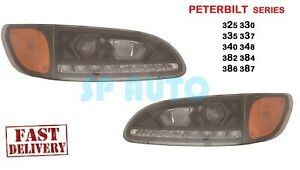 2008 2009 2010 PETERBILT Headlights PROJECTOR W/LED DRL BLACK - PAIR