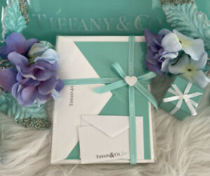 """Tiffany&Co Blue Notecards White Envelopes Lot Of 4 Gift Set W Gifting Card 7""""x5"""""""