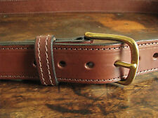 """Thick Stitched Brown English Bridle Leather Dress/Gun Belt Fits 56"""" Made in USA"""