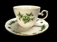 REDUZIERT Seltmann Weiden Wien grün Kaffeegedeck 2tlg. großes Blumendekor