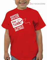 BOYS SISTER FOR SALE KIDS T-SHIRT TSHIRT FUN FUNNY GIFT PRESENT AGES 1-12