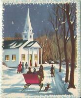 VINTAGE CHRISTMAS FOLK ART CHURCH VICTORIAN SLED SLEIGH HORSE DOG GREETING CARD
