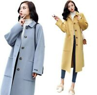 Women's Faux Cashmere Woolen Coat Trench Single-breasted Midi Overcoat Autumn L