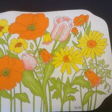Vintage MCM Vinyl Placemats Set of 4 Spring Tulip Poppy Daisy Orange Yellow Pink