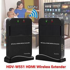 Wireless 4K 1080p HDMI Extender Deliver 60Ghz Transmitter & Receiver System 3D