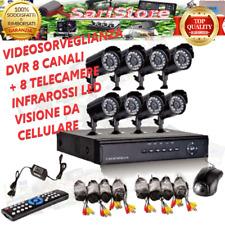 KIT VIDEOSORVEGLIANZA DVR 8 CANALI  8 TELECAMERE INFRAROSSI VISIONE DA CELLULARE