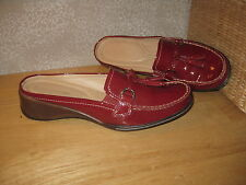 Womens 7 NATURALIZER N5 COMFORT red Real Leather Mules Shoes BARELY WORN!PRETTY!