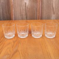 4 Short Clear Glass Tumblers Water Glasses Cups Linear Pattern