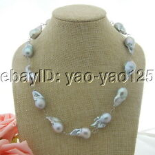 "H031510 19"" 25MM Grey Keshi Pearl Necklace"