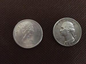 Washington Quarter Silver 1964 - D - PLUS Canada Bobcat / Lynx 1967 Quarter