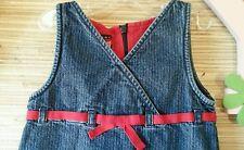Tommy Hilfiger Blue Jean Denim Jumper Dress Girl Toddler 2T Red Grosgrain Ribbon