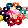 Bridesmaids Wedding Ruffled Flower Hair Clips Grips Slides. 8cm Gold Button.