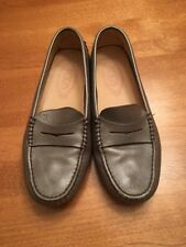 Tod's Pewter Silver Driving Moccasins Shoes Sz 35 GUC