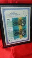 AUSTRALIA TEN DOLLARS 1991 UNCUT HOBART PAIR BANKNOTE - LOW NUMBER AND SCARCE