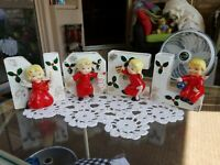 Vintage Napco Christmas Angel N-O-E-L Letter Wall Pockets Bell Candle Stocking