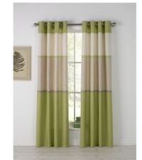 "100% Cotton Banded Stripe Unlined Eyelet Curtains 90x90"" 229x229cm Green"