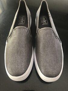 Keds Women's size 5.5 BNWOT Gunmetal Grey Metallic Double Decker Sneakers