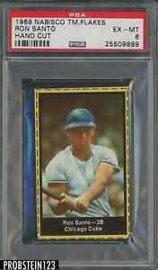 1969 Nabisco TM Flakes Hand Cut Ron Santo Chicago Cubs HOF PSA 6 EX-MT