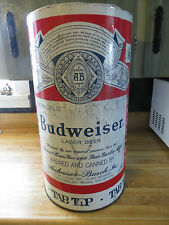 Budweiser Lager Beer advertising tab top garbage can or huge vtg ashtray can
