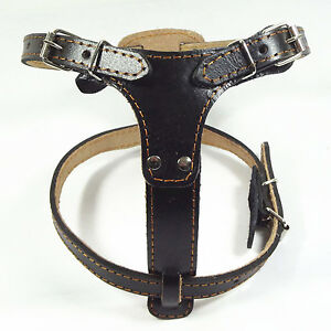 New Quality Black/Brown Leather Pulling Dog Harness Bully Husky Pit bull Boxer