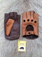 Women's Peccary Leather Gloves Driving Gloves Fitness Fingerless Handsewn