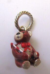 Brighton CANDY CANE TEDDY Charm-teddy bear- brown red beige -Holiday Christmas