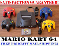 N64 NINTENDO 64 CONSOLE + CONTROLLER(S) + MARIO KART BUNDLE! CLEANED AND TESTED!