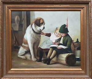 """Original oil painting by E. Hudson """"Storytime"""", St. Bernard with kids, 24×30 in"""