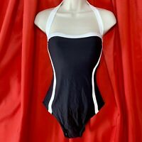 🌸 DKNY ... Slimming One Piece Swimsuit ... Black & White ... Size 10 ... NEW 🌸
