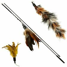 3pcs Refill Nature Bird Feather Wand Teaser Interactive Cat Toy Pet Da Kitty