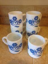 Vintage Retro Hazel Atlas White Milk Glass Blue Corn Flower Coffee Mugs Cups 6