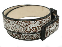 "Cinto Ranchero Belt Leather Lazer Cut Handcrafted Changeable Buckle 2"" Wide"