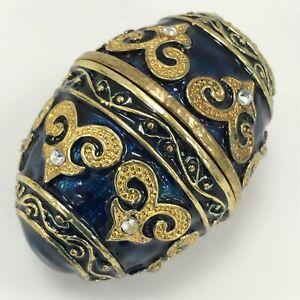 Enamelled Metal Egg Trinket Box Ornament Blue Gold Jewelled Russian Style 253600