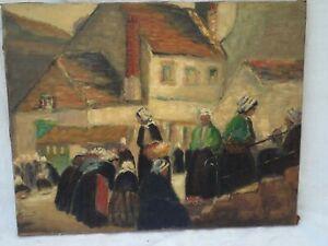 ancien Tableau Huile sur Toile scène rurale marché Breton...