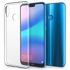For Huawei P20 Lite Clear Slim Gel Case and Glass Screen Protector Guard
