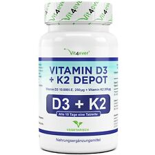 Vitamin D3 10.000 I.E. + Vitamin K2 200 mcg 180 Tabletten MK7 Menachinon-7 IE IU