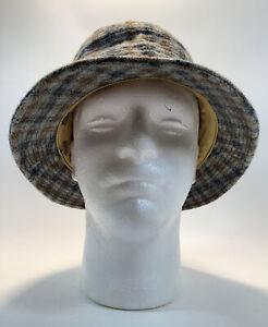"Stetson 7 1/4"" Plaid Bucket Hat Gray Brown Navy Men's Accessory"