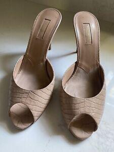 Aquazzura Samantha Beige Croc-Effect Leather Peep toe Mules 39.5 - 85mm Heel