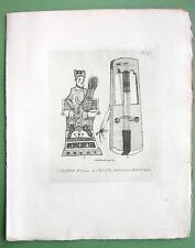 ORIGINAL ETCHING Print - MUSICAL Instruments Ebglish Crouth