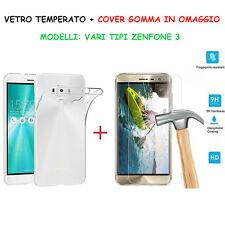 COVER CUSTODIA in TPU+PELLICOLA in VETRO TEMPERATO per SMARTPHONE ASUS ZENFONE 3