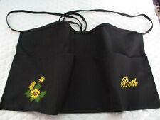 Sunflower Embroidered Server Waitress Waist Apron Name Free Lady Pizazz