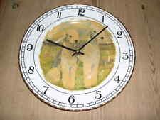 More details for antique bedlington terrier dog plate clock orig oil painting signed v rainsbury