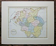 19thC Hand Drawn Map Germany Divided into Circles Prussia Netherlands Antique