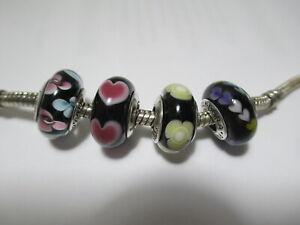 4 Pandora Silver 925 Ale Black Glass Bead Yellow Flower Pink Rose Heart Daisy