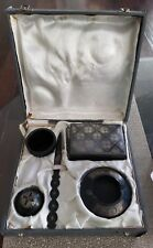 ANTIQUE 5 PC METALWARE DESK SET WITH STERLING SILVER INLAY IN ORIGINAL CASE