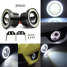 "2PC 2.5"" 3200LM LED Projector Fog Light Round White Angel Eye Halo 4X4 ATV Truck"