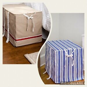 The DogHouse Covers Dog Crate Cover Blue Striped or Tan XS