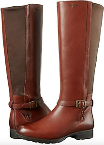 Clarks Cheshunthi Womens UK 7 D Brown Leather GTX Waterproof Knee High Boots