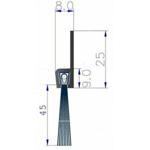 1 m Streifenbürste 45 mm Bürstendichtung Alu Profil Türbürste Torbürst...